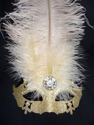 Glittery Gold Ostrich feather Half Mask
